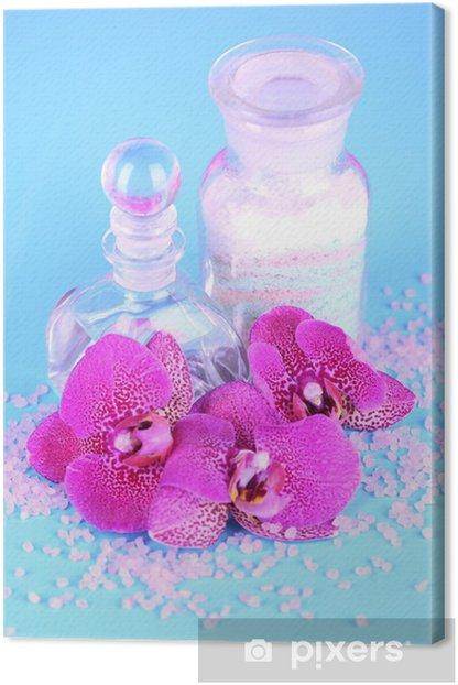 Obraz na płótnie Piękna okolica spa z orchidea na niebieskim tle - Style