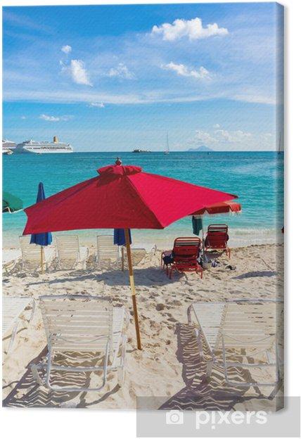 Obraz na płótnie Piękna plaża w Philipsburg, Saint Martin, Wyspy Karaibskie - Ameryka