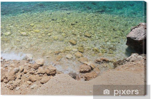 Obraz na płótnie Piękna plaża z dużymi kamieniami. Podgora, Chorwacja - Wakacje