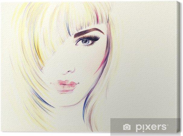 Obraz na płótnie Piękna twarz kobiety. Akwarele ilustracji - Tematy