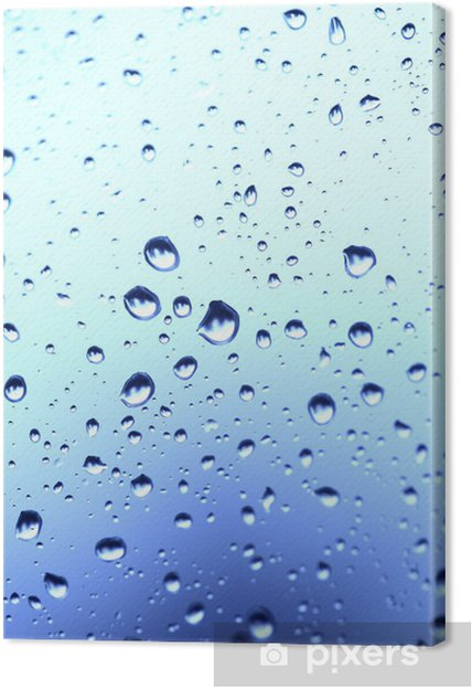 Obraz na płótnie Piękne abstrakcji z kropli wody na niebieskim szkła deseń -