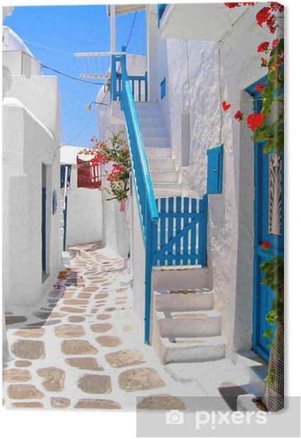 Obraz na płótnie Piękne białe ulice Mykonos, Grecja - Tematy