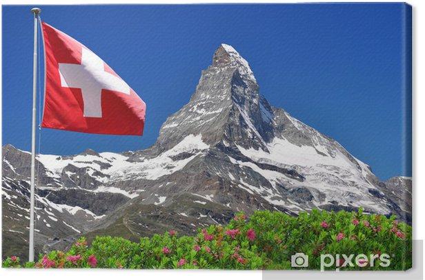 Obraz na płótnie Piękne górskie Matterhorn w szwajcarskiej flagi - Alpach szwajcarskich - Europa