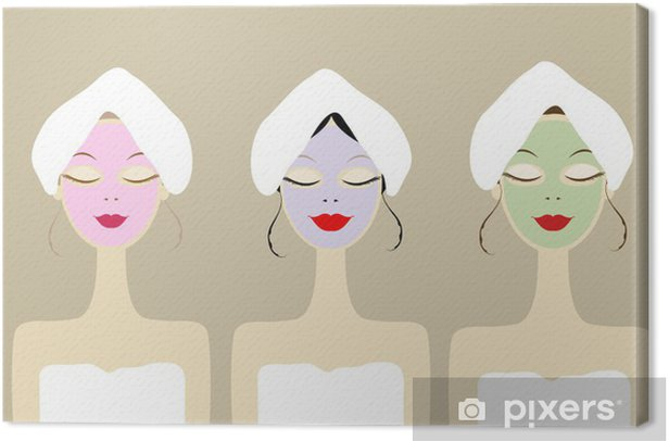 Obraz na płótnie Piękne kobiety z kosmetycznych maski na twarz - Uroda i pielęgnacja ciała