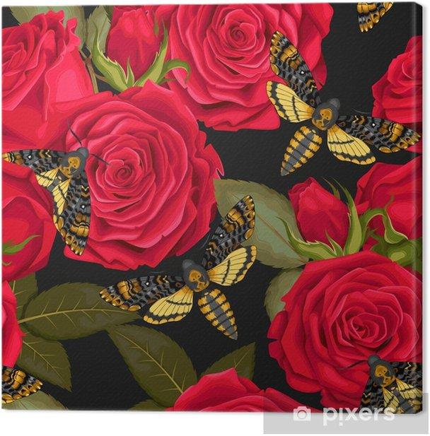 Obraz na płótnie Piękne róże bez szwu - Rośliny i kwiaty