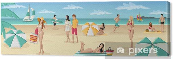 Obraz na płótnie Piękni ludzie na tropikalnej plaży z błękitnego oceanu - Wakacje