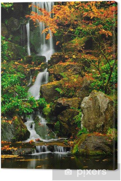 Obraz na płótnie Piękny, dziki wodospad płynący do puli jesienią - Ameryka