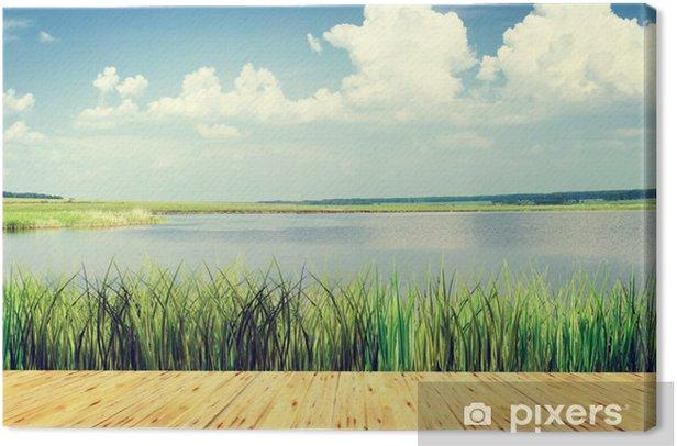 Obraz na płótnie Piękny krajobraz lato w jeziorze - Woda