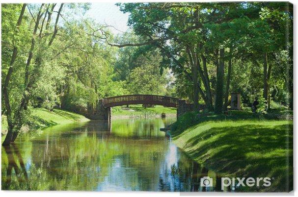 Obraz na płótnie Piękny park, krajobraz z rzeki i most - Rolnictwo