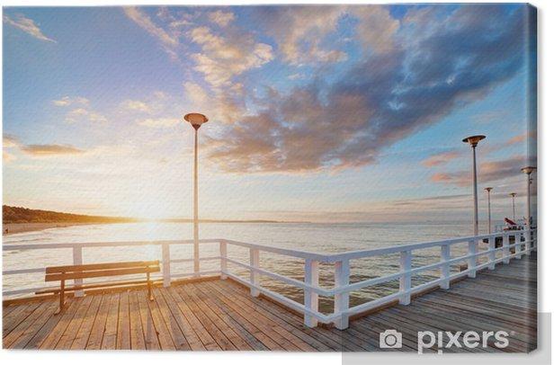 Obraz na płótnie Piękny retro molo o zachodzie słońca. Gdańsk Brzeźno, Polska - Tematy