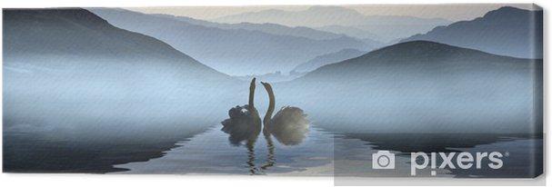 Obraz na płótnie Piękny romantyczny obraz łabędzie na mglisty jezioro z góry: i - Łabędzie