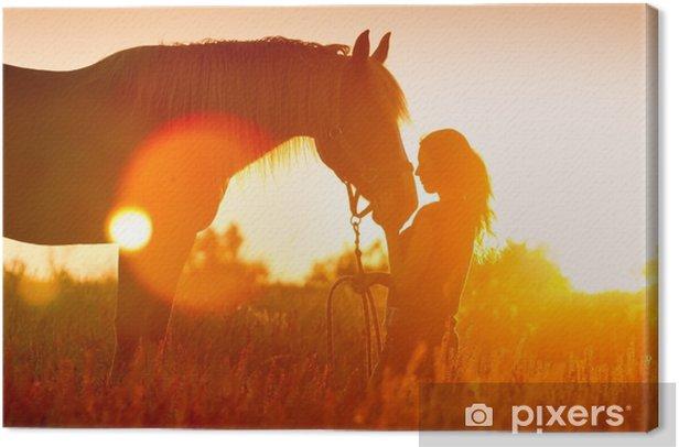Obraz na płótnie Piękny silhuette dziewczyny i konia o zachodzie słońca - Zwierzęta