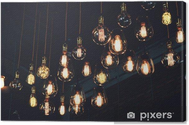 Obraz Na Płótnie Piękny Vintage Luksusowe światło Lampy Wiszące Wystrój świecące W Ciemności Styl Retro Efekt Filtra