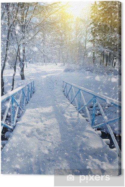Obraz na płótnie Piękny zimowy krajobraz z mostu - Budynki użyteczności publicznej