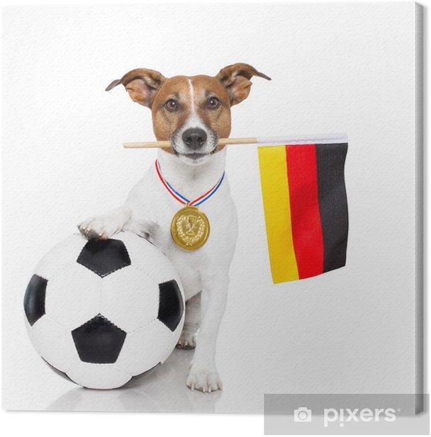 Obraz na płótnie Pies jak piłka nożna z medalem i flaga - Naklejki na ścianę