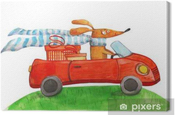 Obraz na płótnie Pies z prezentów w samochodzie. Ilustracja akwarela - Zwierzęta