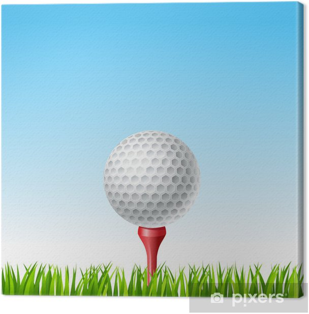 Obraz na płótnie Piłeczka golfowa na tee na trawie - Relacja