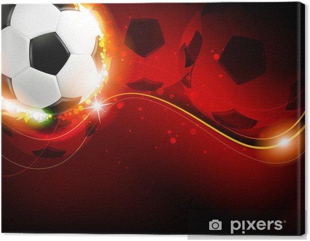 Obraz na płótnie Piłka nożna na czerwonym tle -