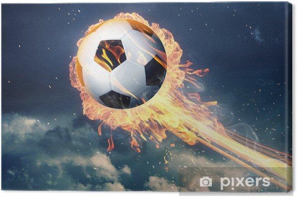 Obraz na płótnie Piłka nożna w płomieniach ognia - Mecze i zawody