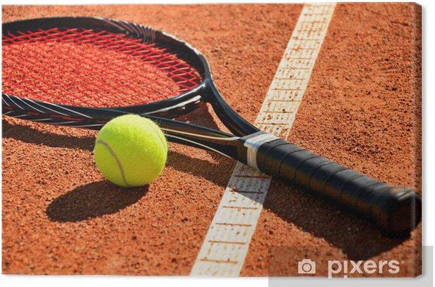 Obraz na płótnie Piłki tenisowe i rakieta na sąd jest dywan - Tenis