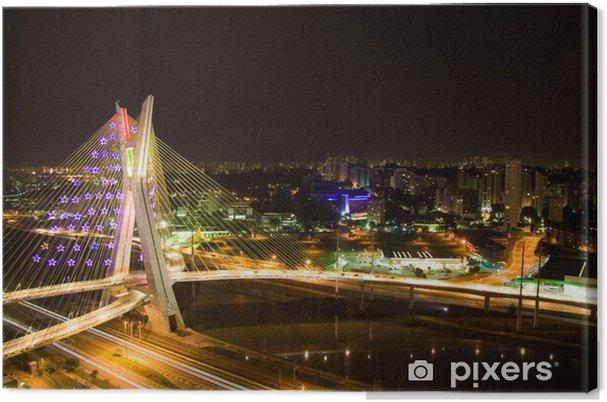 Obraz na płótnie Pinheiros River Bridge w nocy - Ameryka