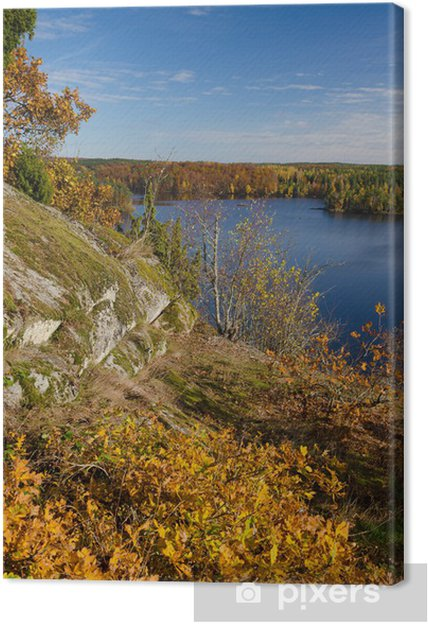 Obraz na płótnie Pionowe krajobraz z symbolami jesieni - Pory roku