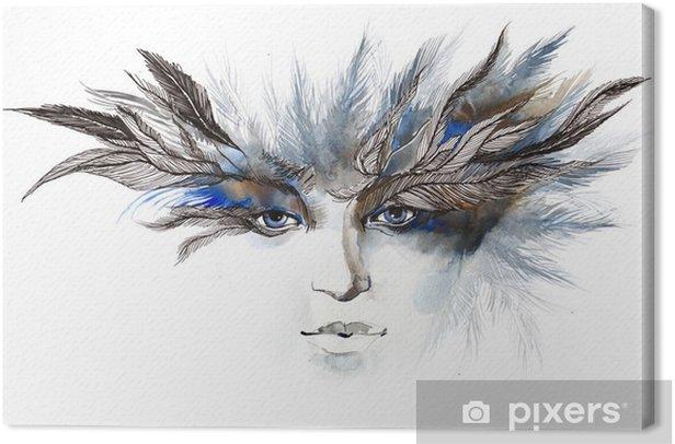 Obraz na płótnie Pióra wokół oczu (seria C) - Moda