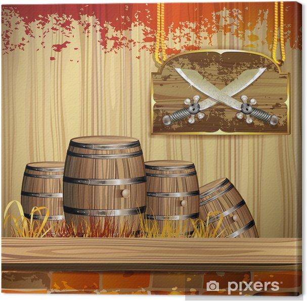 Obraz na płótnie Pirate miecze nad sztandarem drewna i beczki - Akcesoria