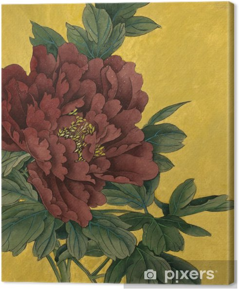 Obraz na płótnie Piwonia kwiaty na złotym tle - Rośliny i kwiaty