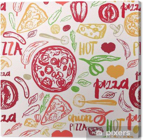 Obraz na płótnie Pizza wyciągnąć rękę szwu wzór z oliwek, mówiąc, pomidory i plastry na banery, papier pakowy. - Jedzenie