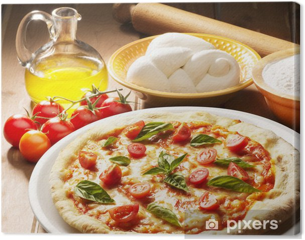 Obraz na płótnie Pizza z składników na drewnianym stole - Tematy