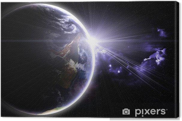 Obraz na płótnie Planeta z błyskiem słońca, abstrakcyjnym tle - Tła