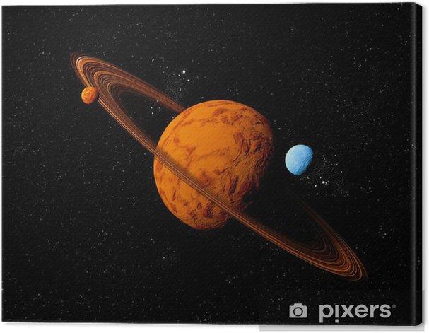 Obraz na płótnie Planeta z pierścieniem i księżyców. Streszczenie tle przestrzeni kosmicznej. Ja - Planety