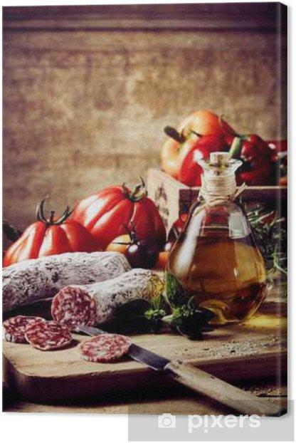 Obraz na płótnie Plastry kiełbasa z słoik oliwek i pomidorów - Jedzenie