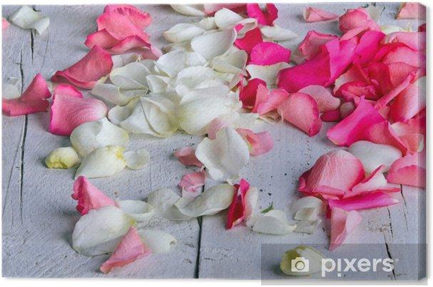 Obraz na płótnie Płatki róż w kolorze różowym i białym - Szczęście