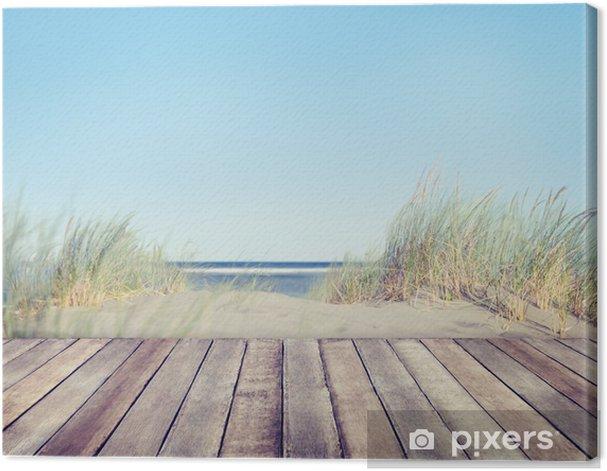Obraz na płótnie Plaża i drewniane deski -