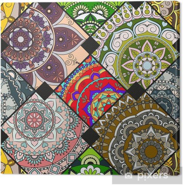 Obraz na płótnie Płytka wzór z mandali. zabytkowe elementy dekoracyjne. ręcznie rysowane tła. motywy islamu, arabskie, indyjskie, otomańskie. idealny do drukowania na tkaninie lub papierze. - Zasoby graficzne