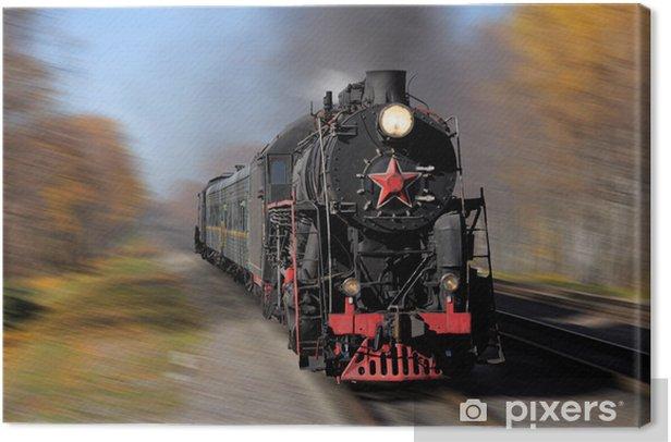 Obraz na płótnie Pociąg parowy idzie szybko. Koleje Rosyjskie. - Tematy