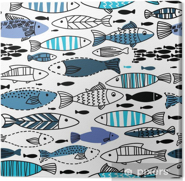 Obraz na płótnie Podwodny szwu z rybami. Jednolite wzór może być stosowany do tapety, tła strony internetowej - Zwierzęta
