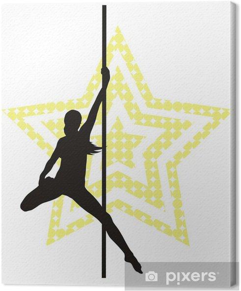 Obraz na płótnie Polak tancerz kobieta na tle gwiazdy. Sylwetka wektor - Rozrywka