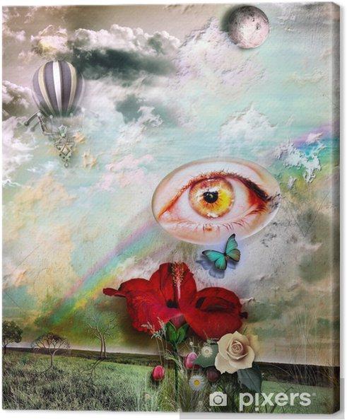 Obraz na płótnie Pole z tęczy i kwiat hibiskusa - Ezoteryka