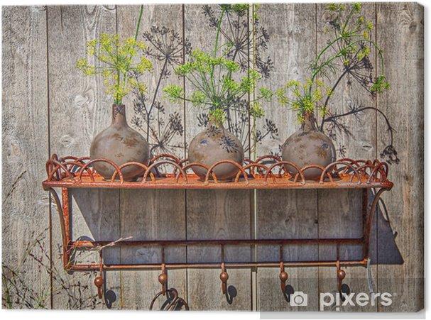 Obraz na płótnie Półka metalowa ogród - Dom i ogród