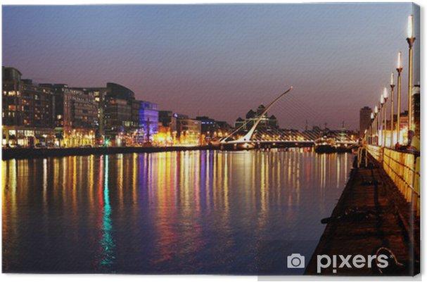 Obraz na płótnie Południowym brzegu rzeki Liffey w Dublinie Centrum miasta w nocy - Tematy