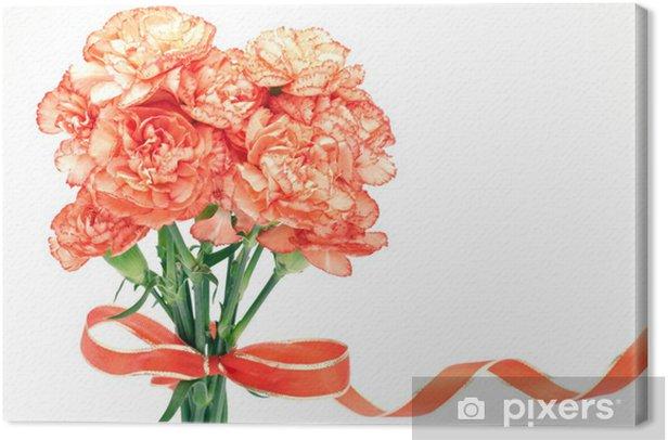 Obraz na płótnie Pomarańczowy bukiet goździków - Kwiaty