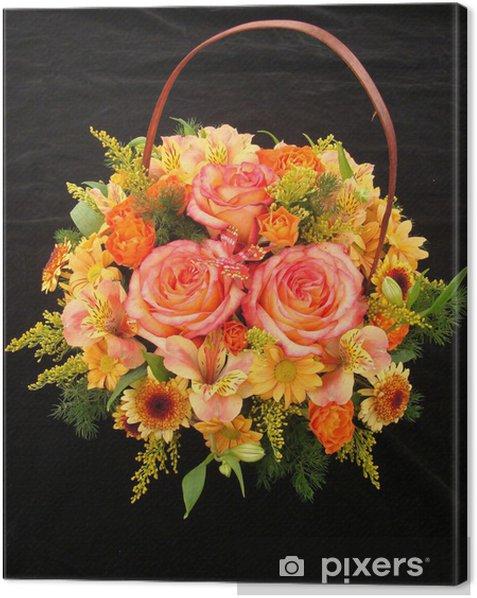 Obraz na płótnie Pomarańczowy kosz z różami i alstroemeria - Świętowanie