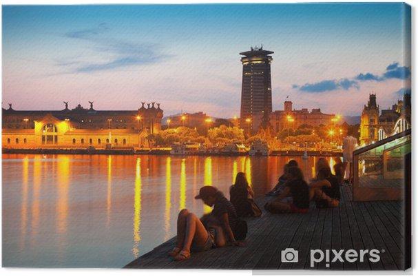 Obraz na płótnie Pomnik Kolumba i nabrzeże w godzinach wieczornych - Tematy