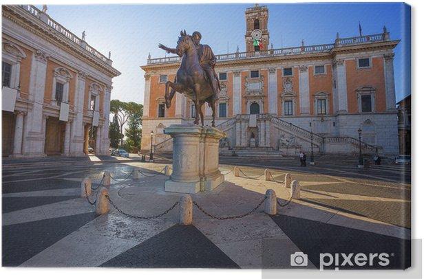 Obraz na płótnie Pomnik Marka Aureliusza na Kapitolu, Rzym, Włochy. - Miasta europejskie