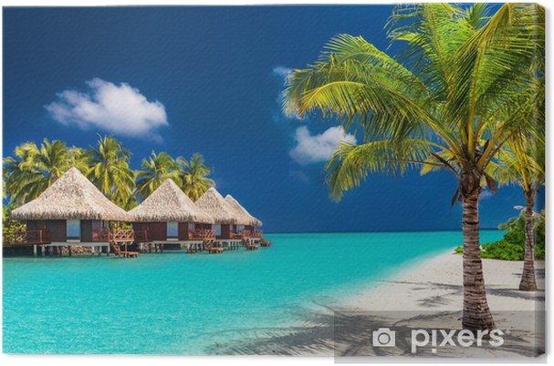 Obraz na płótnie Ponad bungalowy wody na tropikalnej wyspie z palmami i rano - Woda