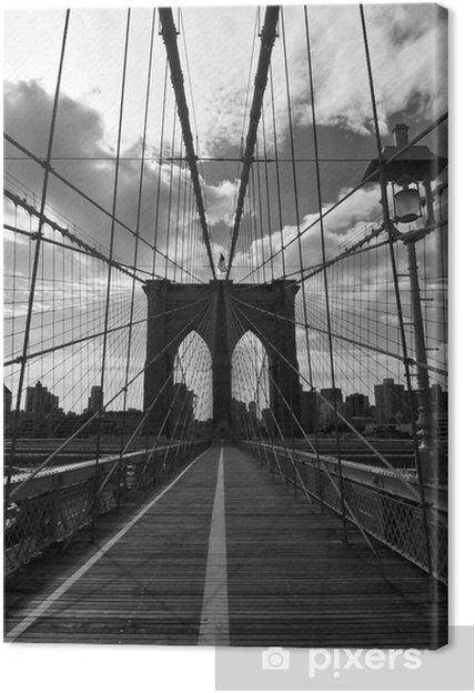 Obraz na płótnie Pont de Brooklyn Noir et Blanc - Nowy Jork - Style