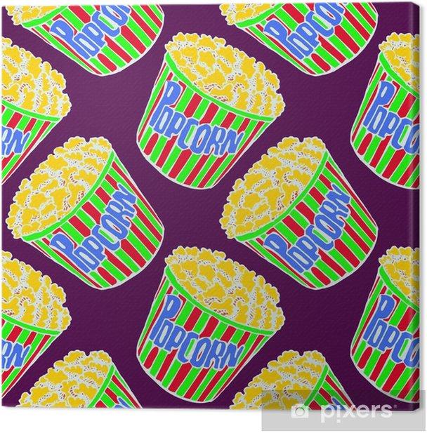 Obraz na płótnie Popcorn w paski pole, ręcznie rysowane doodle, szkic w stylu pop-art, biały kontur, bez szwu wzór na fioletowym tle - Zasoby graficzne
